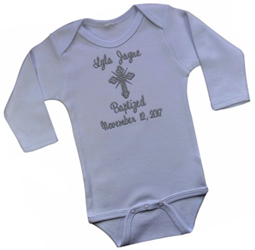 Funny Girl Designs Personalized Christening Keepsake Romper Bodysuit Embroidered with Name and Baptism Date