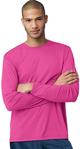 Hanes Cool Dri Performance Men's Long-Sleeve T-Shirt_Wow Pink_XL