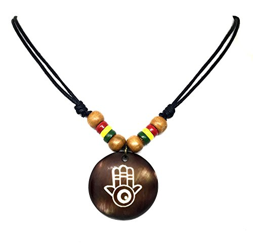 Hippie Cord Hemp (Hamsa Hand Necklace Pendant with Adjustable Black Cord Rasta plaid Hippie Braid Hemp Hawaii)