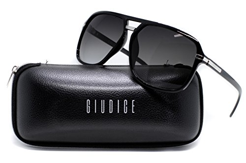 GIUDICE Premium Gradient Black Aviator-Style Luxury Sunglasses - w/ Hard Case & Microfiber Pouch - - Bans Used Ray