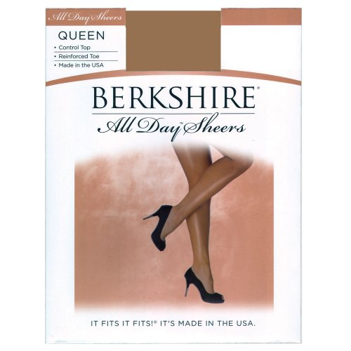 Berkshire Women's Plus-Size Queen All Day Sheer Control Top Pantyhose with Reinforced Toe, Off Black, 3X-4X