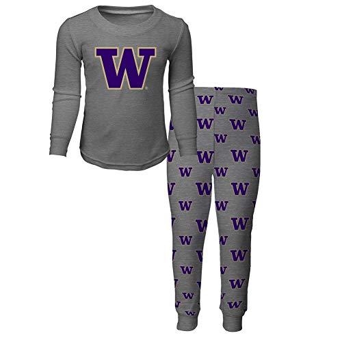 NCAA by Outerstuff NCAA Washington Huskies Toddler Long Sleeve Tee & Pant Sleep Set, Heather Grey, 2T