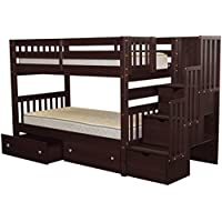 Bedz King Stairway Bunk Beds Twin over Twin with 3 Drawers in the Steps and 2 Under Bed Drawers, Cappuccino