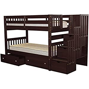 Bedz King Stairway Bunk Beds Twin over Twin with 3 Drawers in the Steps and 2 Under Bed Drawers, Cappuccino 9
