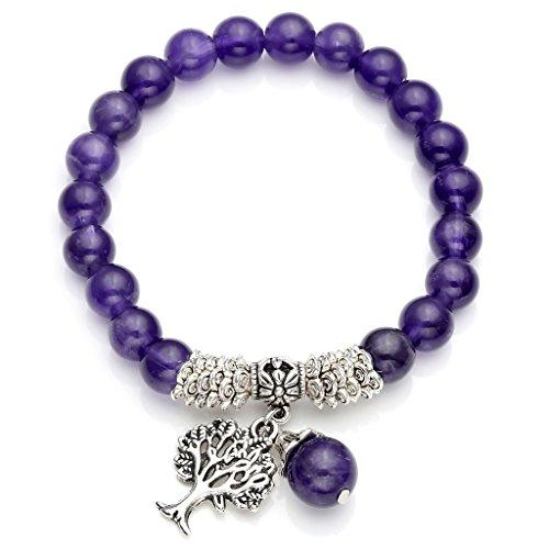Top Plaza Stretch Amethyst Tree of Life Lucky Stone Bracelet Reiki Healing Crystal Gemstone Dangle Charms Pendant Birthstone Bracelet(6.2