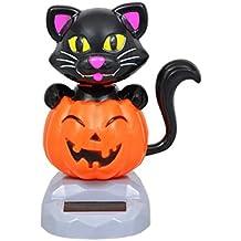 Solar Powered Dancing Halloween Black Cat with Pumpkin