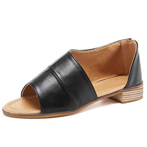 Beauta 2019 Women Summer Sandals Open Toe Cutout Asymmetrical Slip On Flat Sandals Low Stacked Heel Bootie Loafers Shoes (9 M US, D Black)