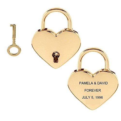 Gold Heart Padlock - Personalize Custom Engraved Mini Heart Shape Padlock with Key - Love Locks (Gold)