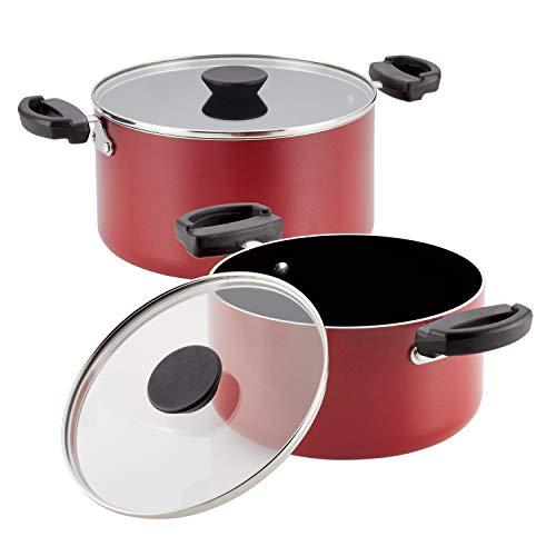 Farberware Neat Nest Space Saving 3.5 and 6-Quart Saucepot Set with Lids, Red - Pan 6 Farberware Quart