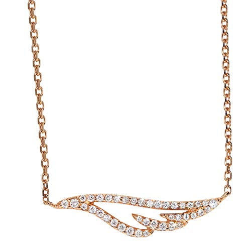 Unique 18-k rose gold cherub wings diamond necklace collarbone chain feather pendant lady birthday gift present necklace for women