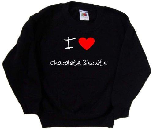 i-love-heart-chocolate-biscuits-black-kids-sweatshirt-white-print-14-15-years