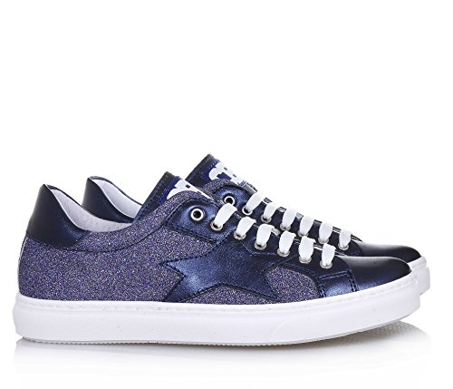 CIAO BIMBI - Blauer Schuh mit Schnürsenkeln aus Leder und Stoff mit Glitzern, In jedem Detail gepflegt, Mädchen, Damen