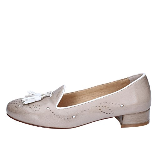 - E. B. GENOVA Loafers-Shoes Womens Leather White 6 US