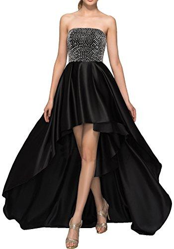 DressyMe Women's Asymmetrical Prom Dresses Homecoming Dress High-Low Strapless -20W-Black ()