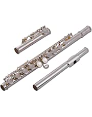Woodwind Instrument 16 Holes Closed Hole Flute C Key Concert Flutes Cupronickel Silver Plated with Cleaning Cloth Rod Gloves Screwdriver