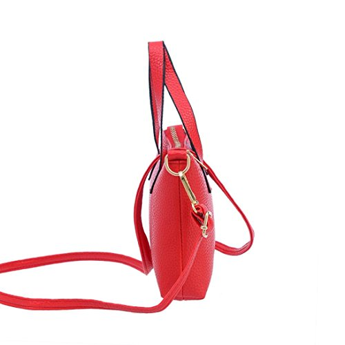Veau main Vogue Sac Sac Portes à 5cm Bandoulière à 3 15cm FEITONG® Simple Femme 20cm Enduit Epaule Rouge en Main Cabas Cuir 55rAnq6a