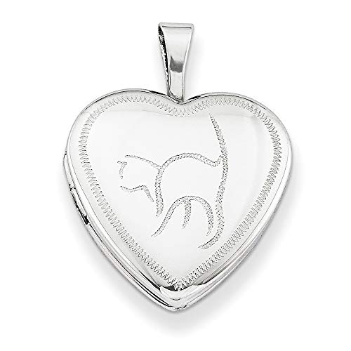 - Roy Rose Jewelry Sterling Silver 16mm Cat Heart Locket 18'' length