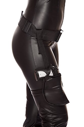 Belt Gun Holster Costume (Roma Costume Women's Leg Holster with Connected Belt, Black, One Size)