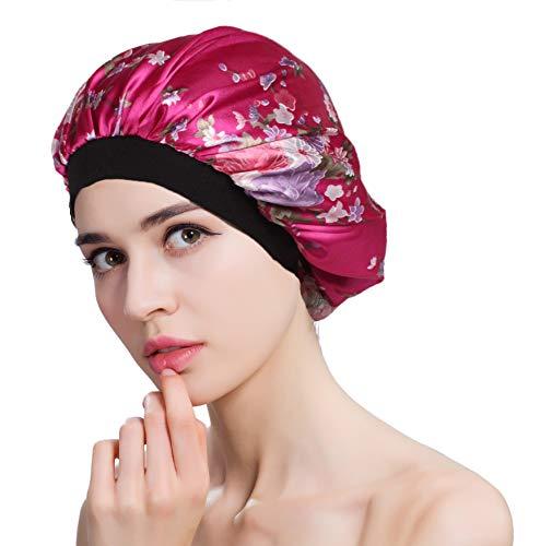 FIBO STEEL Soft Satin Sleeping Cap Salon Bonnet Night Hat Hair Loss Chemo Caps for Women Hat Hair Loss Cap Red ()