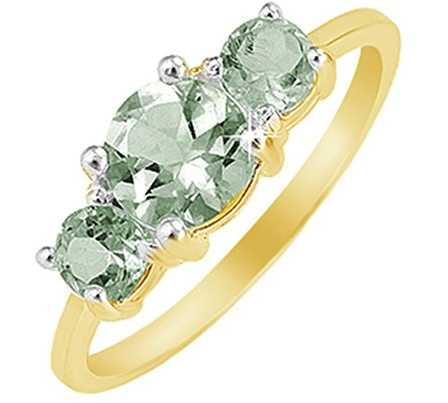 - Jewel Zone US Round Cut Green Simulated Amethyst Three Stone Ring in 14k Gold Over Sterling Silver (2.25 Cttw)