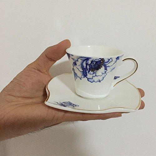 Porlien Porcelain 2.5-Ounce/80ml Small Espresso Cups Set of 4 with Saucers, Blue Floral Gold Trimmed by Porlien (Image #1)