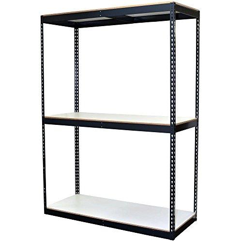 Double Rivet Units - 3-Shelf Bulk Storage Steel Boltless Shelving Unit w/Double Rivet Shelves & Laminate Board - 72 in H x 60 in W x 24 in D