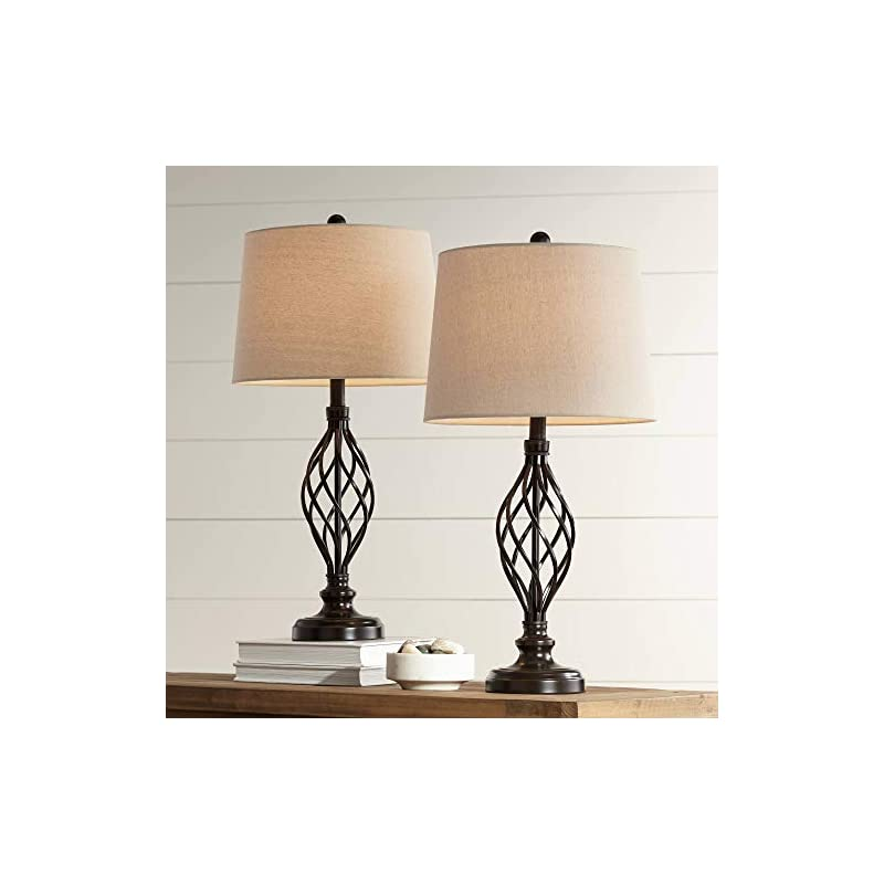 Annie Rustic Farmhouse Table Lamps Set of 2 with WiFi Smart Sockets Iron Scroll Cream Tapered Drum Shade for Living Room…
