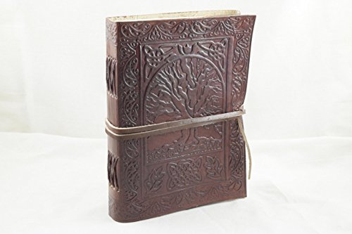 LEATHER JOURNAL – Tree of Life Writing Notebook – Antique Handmade Leather Bound Daily Notepad For Men  Women Unlined Paper Medium 7 x 5 Inches, Best…
