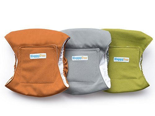 HappyPaw Reusable Washable Dog Belly Bands (3 Pack - Size Medium)...