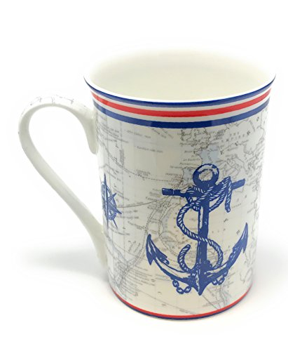 (Ships Anchor Red White and Blue Mug Set of 4 - Gracie Teaware Bone China - 12 Oz)