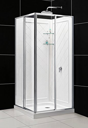 DreamLine Cornerview 36 in. D x 36 in. W  x 76 3/4 in. H Framed Sliding Shower Enclosure in Chrome with White Base and Backwalls, DL-6150-01