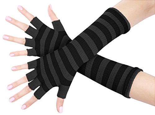 Black Striped Fingerless Gloves (Nice Shades Ladies 16 Inch Fingerless Gloves (Black))
