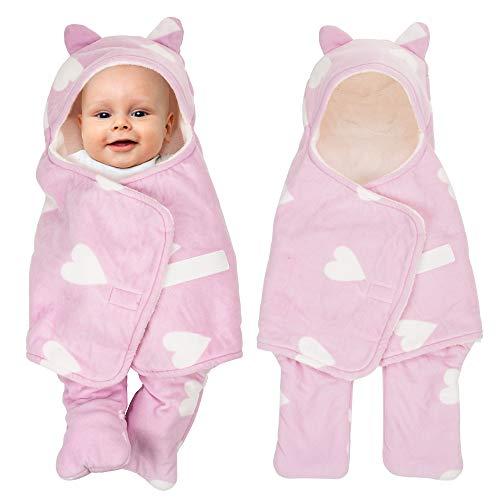 Adjustable Newborn Baby Swaddle Blanket Wrap 0-12 Months 1 Pack Premium Cotton (Pink)