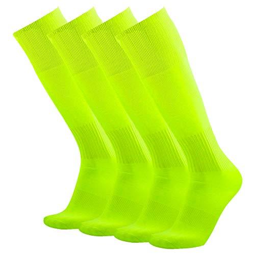 3street Baseball Socks Fun, Mens Womens Half Cushioned Solid Over Knee Breathable Sport Compression Soccer Football Volleyball Schoool Team Socks Neon Yellow 4 Pairs