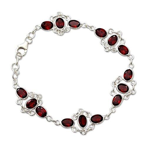 NOVICA Garnet .925 Sterling Silver Link Bracelet, 7
