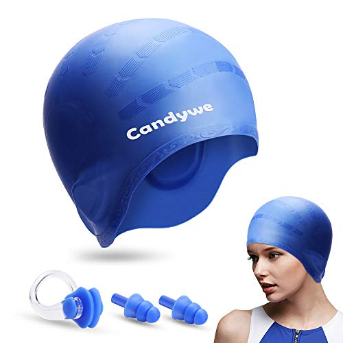 (Candywe Swim Cap Cover Ears, Waterproof Silicone Bathing Swimming Cap,Swim Hat for Long Short Hair Women Men Kids Swimming Pool Caps with Nose Clip and Ear Plugs (Blue))