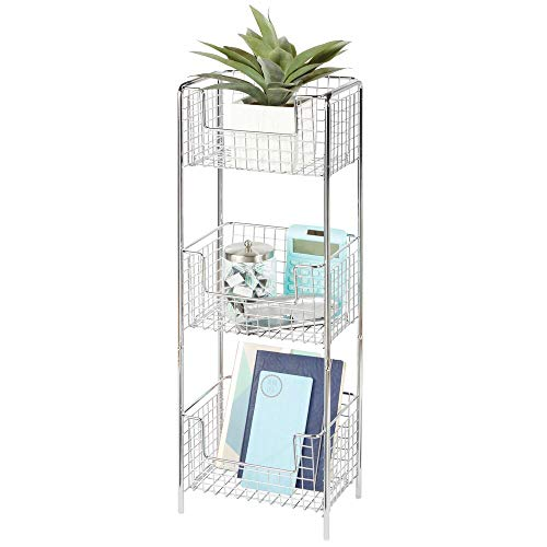 (mDesign 3 Tier Vertical Standing Home Office Shelving Unit, Decorative Metal Storage Organizer Tower Rack with 3 Basket Bins for Desk, Office Supplies, Paper, Folders, Notepads - Chrome)