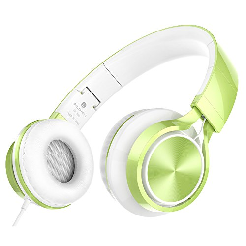 AILIHEN MS300 Wired Headphones, Stereo Foldable Headset for iOS Android Smartphone Laptop Tablet PC Computer (Green)