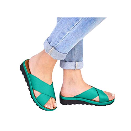 Dressin Women's Sandals 2019 New Women Comfy Platform Sandal Shoes Summer Beach Travel Shoes Fashion Sandal Ladies Shoes Green -