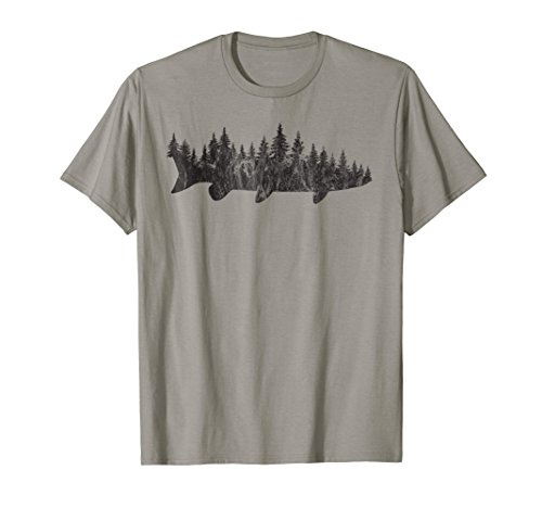 Musky Pine Forest Treeline - Outdoor Fishing Angler (Mens Fishing Graphic Tees)