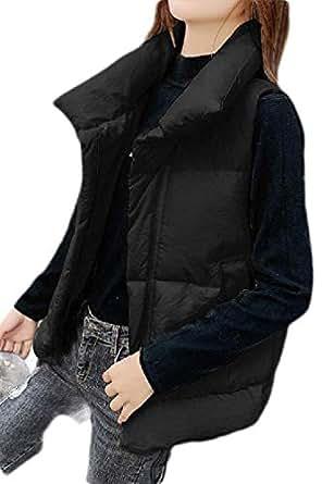 Macondoo Womens Lapel Winter Puffer Vest Warm Zipper Quilted Down Vest Coat Black S