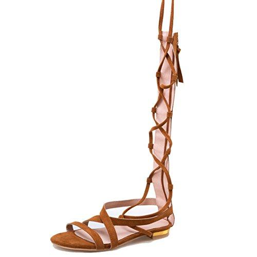 AIYOUMEI Damen Gladiator Flache Sandalen mit schnürung Bequem Schnürschuhe Sommer Schuhe Gelb