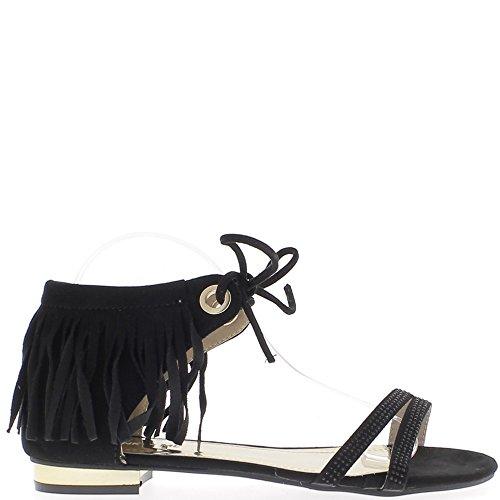 Sandales grande taille noires à franges à talon de 2cm