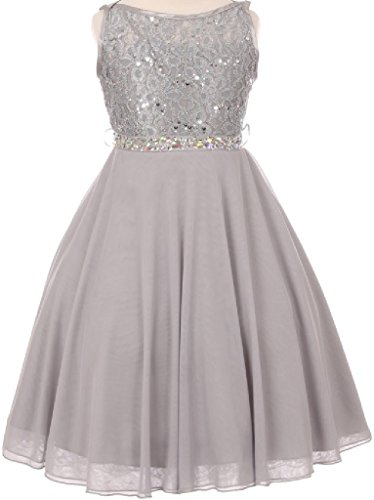 Big Girls Sparkling Sequin Lace Chiffon Flower Girls Dresses (12C12C) Silver 18