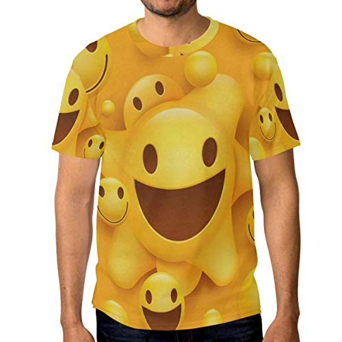 Crewneck Men's T-Shirt Yellow Smiley Face Classic Humor Novelty Graphic Funny Short Sleeve Tops - Smiley T-shirt Yellow
