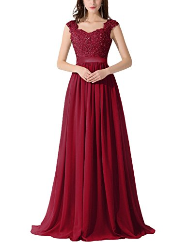 VaniaDress Women Applique Beading Long Evening Dress Formal Gowns V007LF Burgundy US20W