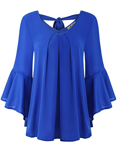 Finice Chiffon Shirt, Womens Plus Size Clothing Soft Surrounding Sexy Deep V Neck Pleated Drape Blouse Lightweight Comfy 3 4 Flare Bell Sleeve Open Back Tunic Top Royal Blue - Open Back Top Tunic