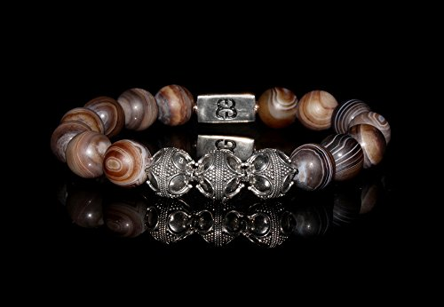 Matte Brown Striped Agate and Sterling Silver Bali Beads Bracelet, Men's Brown Bracelet, Men's Silver Bracelet by Kartini Studio