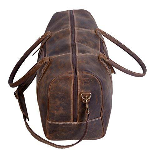 KomalC Genuine Leather Duffel   Travel Overnight Weekend Leather Bag   Sports Gym Duffel for Men