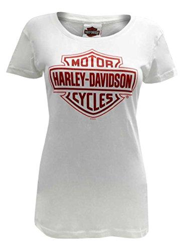 Harley-Davidson Women's Tee, Red Bar & Shield Short Sleeve, White 30291750 (M)